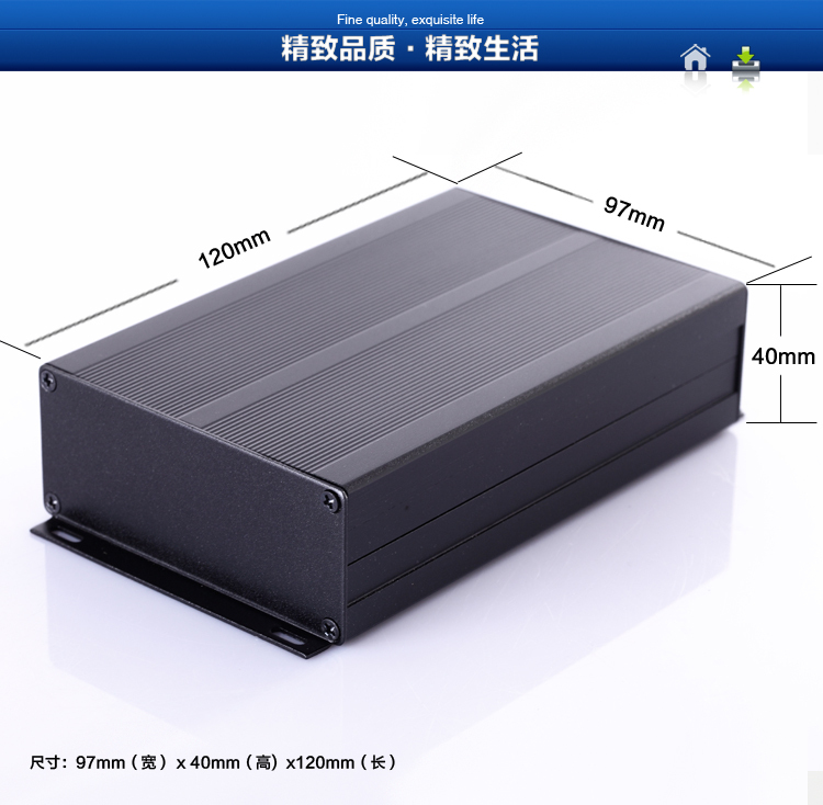 Aluminum enclosure box electronics PCB project enclosure case 97X40X120mm DIY NEW aluminum enclosure pcb project box black 43 66 100mm diy electronics enclosure