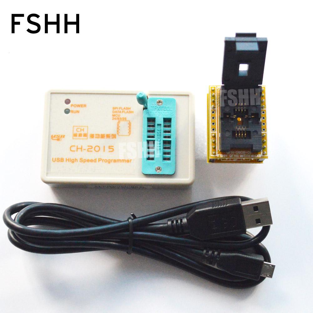 FREE SHIPPING! USB SPI FLASH High-speed Programmer CH2015+6X8 QFN8/WSON8/DFN8 Adapter 24/93/25/SPI FLASH/EEPROM Programmer