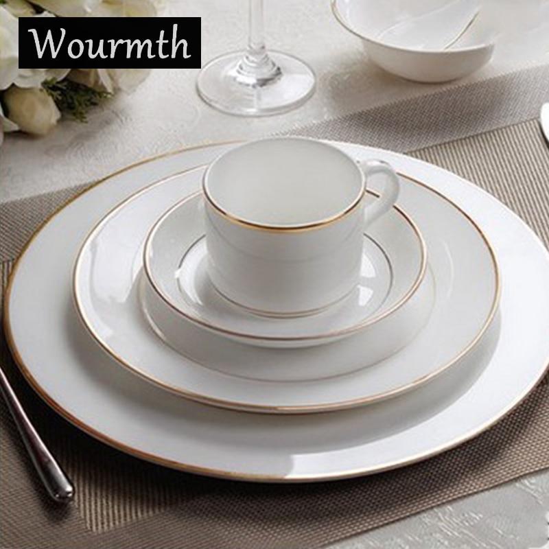Wourmth vaisselle en porcelaine os | Blanc pur Restaurant garniture or et argent assiette plate steak plat tasse à café assiette à dessert en céramique