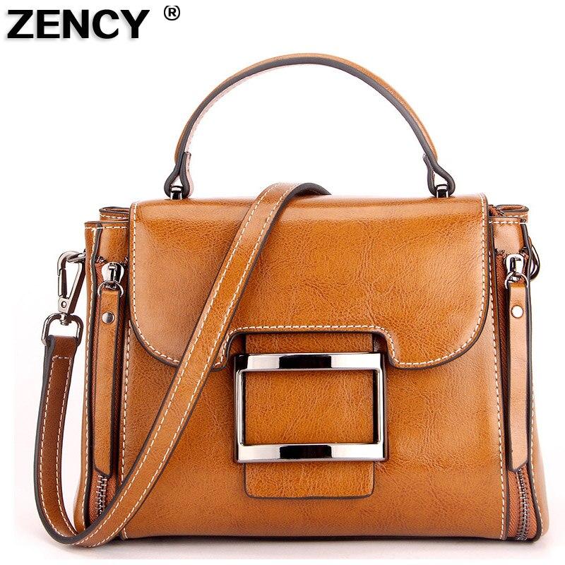 ZENCY 2019 Genuine Leather Summer Women Tote Girl Elegant Handbags Second Layer Oil Wax Cowhide Crossbody