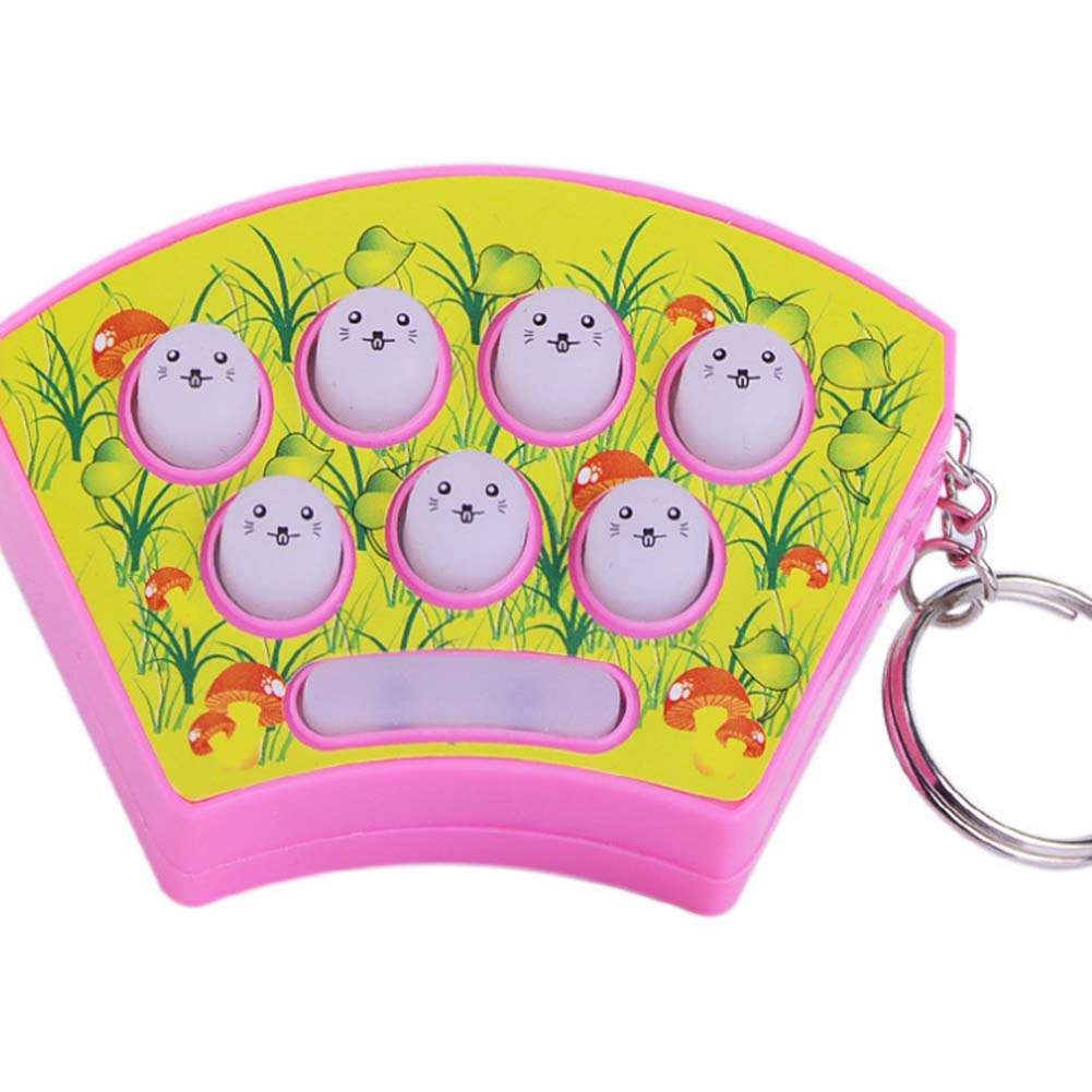 Hot Sales Mini Keychain Playing Hamster Handheld Game Consoles Puzzle Percussion Plastic Toys Color Random