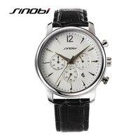 SINOBI Multifunction Causal Sports Mens Wrist Watches Leather Watchband Top Luxury Brand Males Quartz Clock Montres