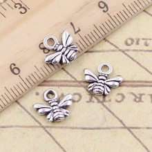 30pcs Charms bee 10x11mm Tibetan Silver Plated Pendants Antique Jewelry Making DIY Handmade Craft(China)