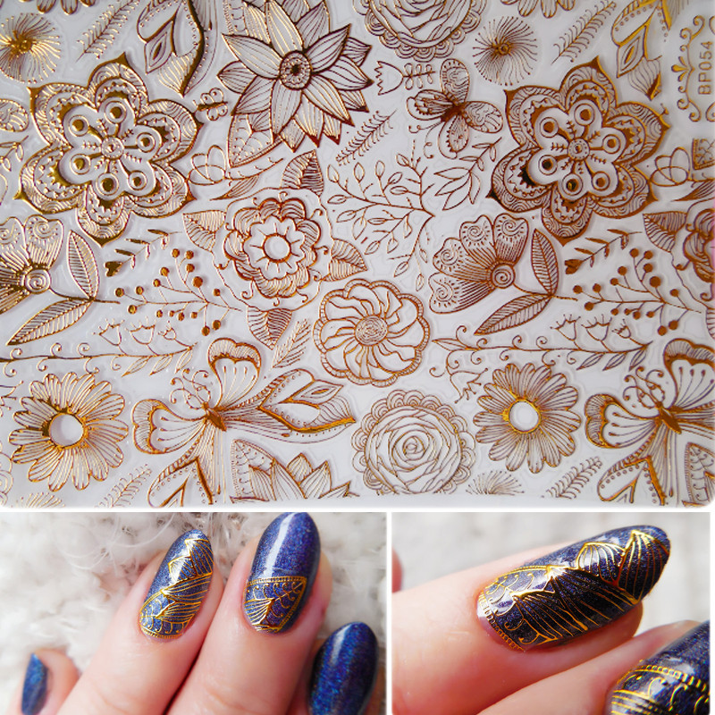 1 Sheet Embossed 3D Stickers Rose Flower Pattern DIY 3D Nail Art Stickers Decals #BP054 стразы для ногтей other 2015 3d diy na071 nail stickers