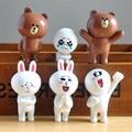 6 unids/lote 3.5-6 cm PVC Línea Marrón Oso Conejo Cony Moon Friends Figura de Acción Linda Decoración Y Juguetes para Los Niños