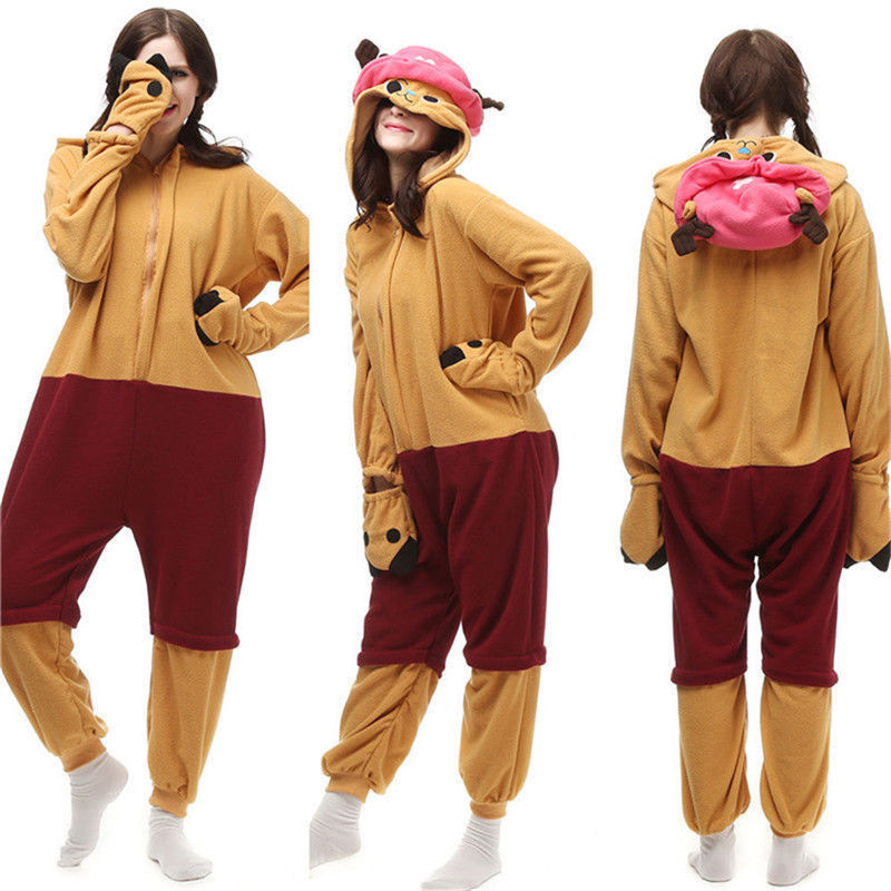 Anime Cartoon Adult Chopper Pajamas Kigurumi Cosplay Costume Animal Jumpsuit Sleepwear Halloween Pajamas Christmas Gift Dress