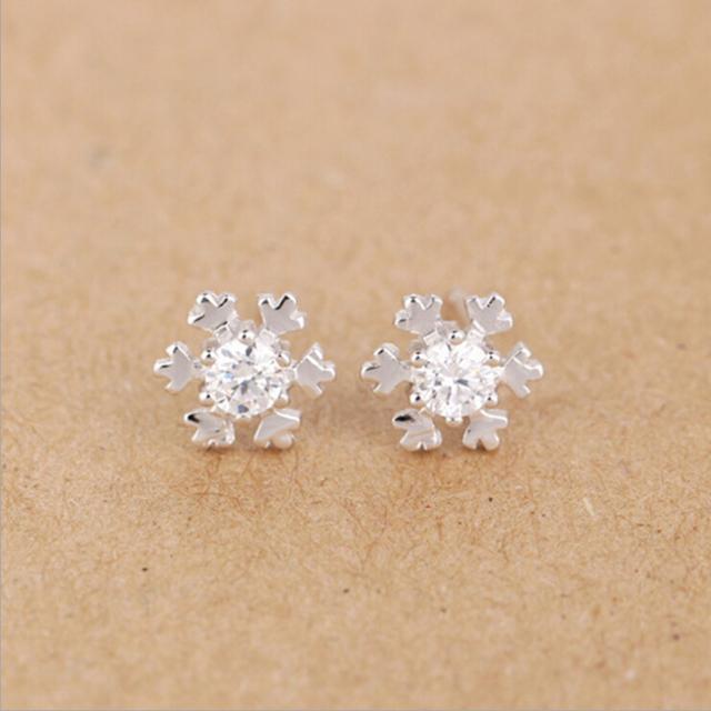 Snowflake Shaped Crystal Stud Earrings