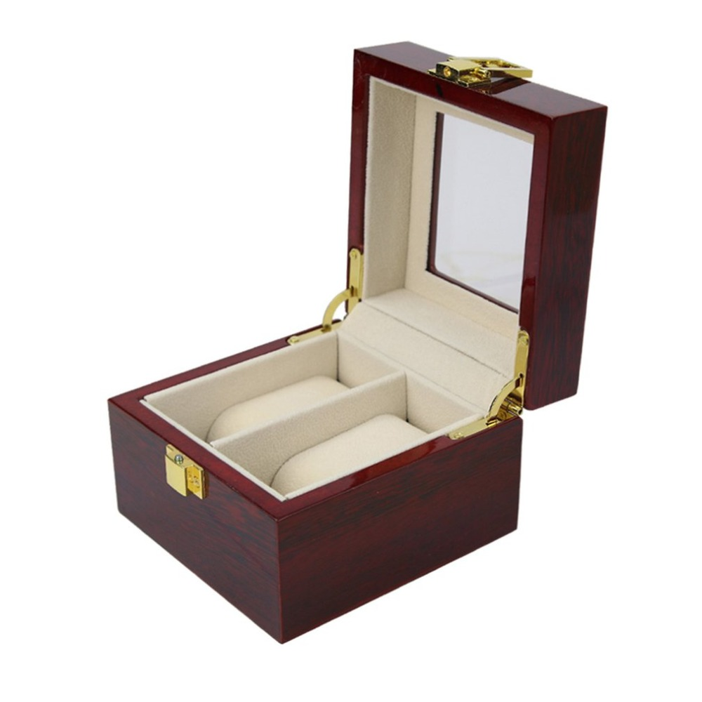 2 Insert Grid Slots & 2 Removable Pads PU Leather Watch Box Display Case Organizer Jewelry Storage Organizer