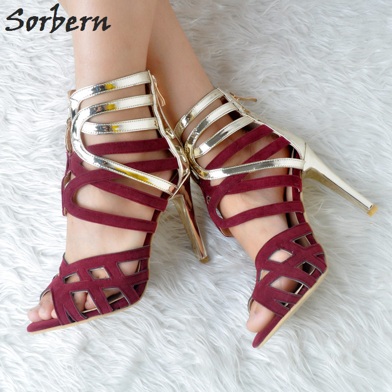 Sorbern 2018 Women Sandals High Heels Plus Size Ladies Party Shoes Luxury Shoes Women Designers Hollow Side Cheap Modest Shoes sorbern plus size women flat sandals shoes buckle strap cheap modest fashion ladies party shoes for summer pu shoes 2018 new