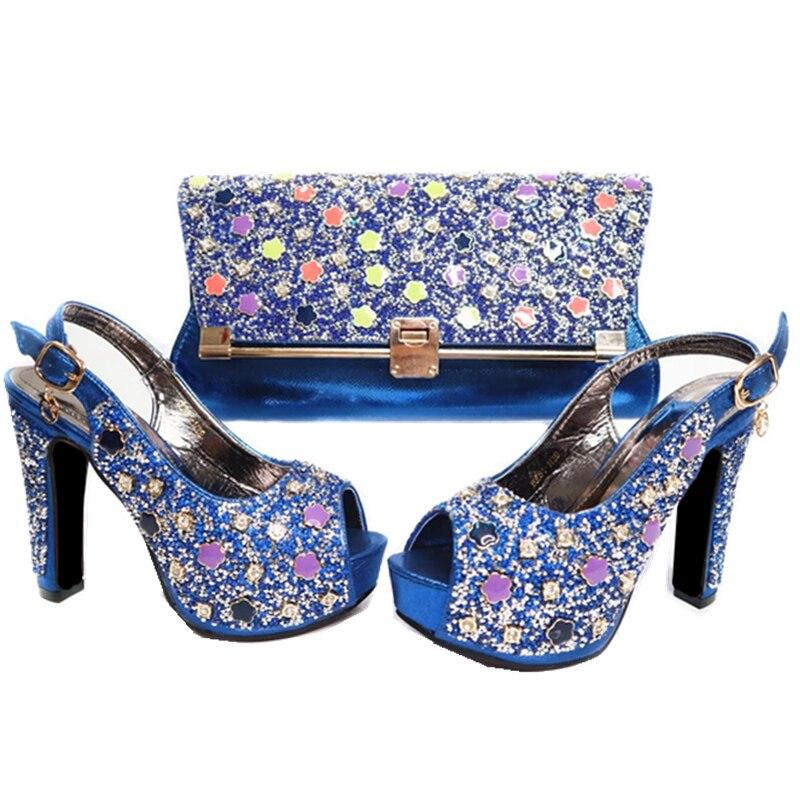 Señoras Rhinestone azul Cielo oro Zapato Bolso Azul Partido Color Fijados El Con Zapatos Bolsa Decorado Africanos En Nigerianos Set fuchsia Rojo rojo Matching Y Para Mujeres WU1UngAPB