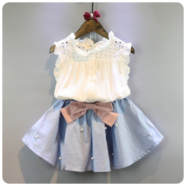 ddbebdff14105 2-8 Years Kids Clothes for Girls The Bow Skirt and Lace Top Summer Suit