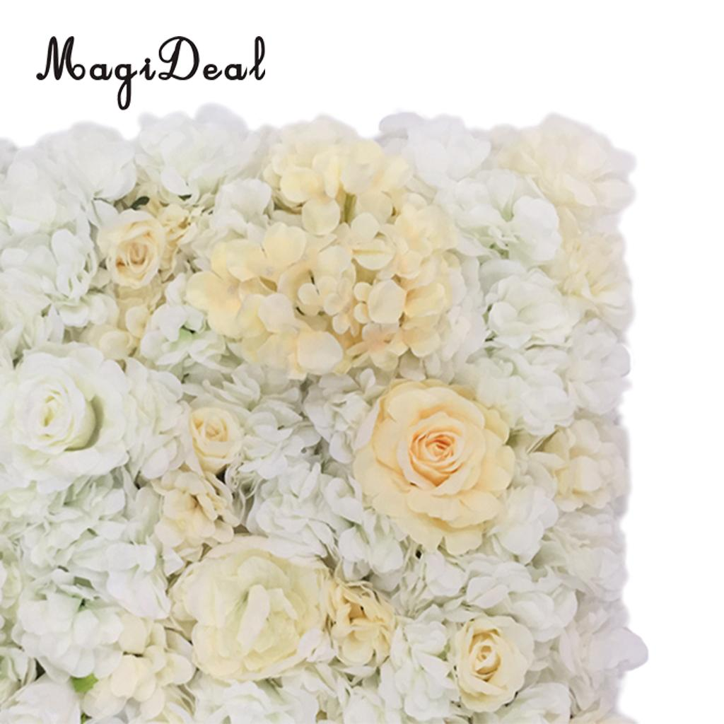 Romantic Artificial Flower Wall Panels Wedding Venue Roses Hydrangea ...