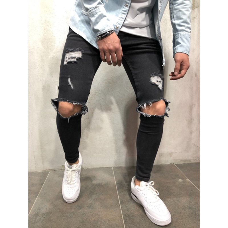 Mens Casual Long Skinny Denim Pencil Pants Ripped   Jeans   Slim Hole   Jeans   Pants 2019 Spring Elastic Denim Trousers Bodycon Clothes