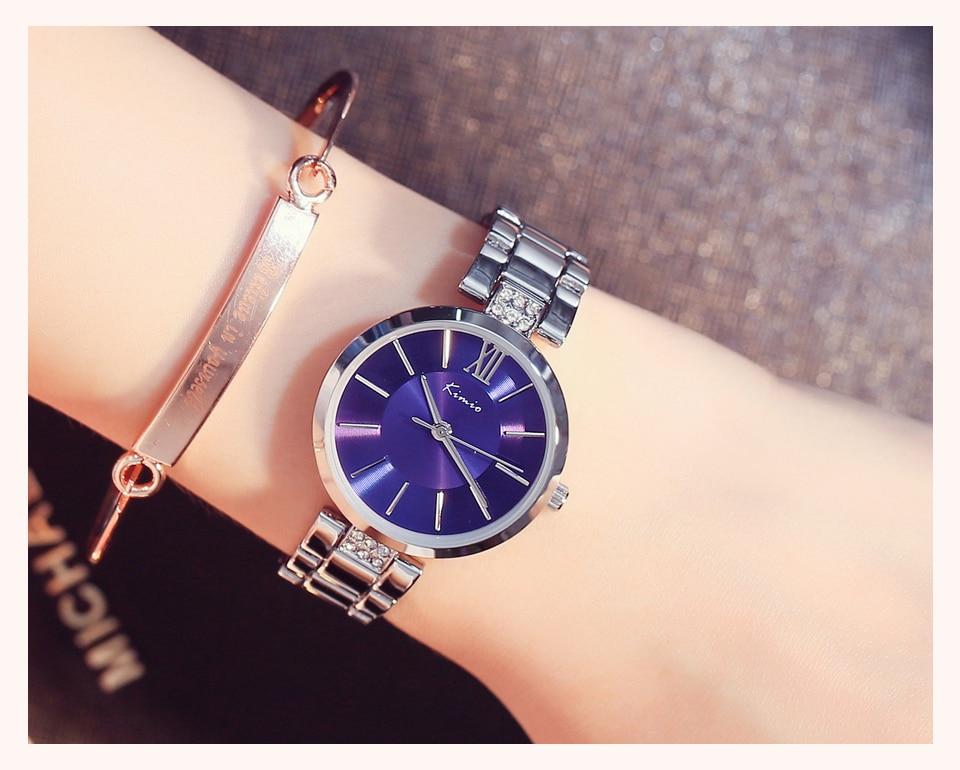 KIMIO Thin Clock Women Fashion Simple Watches Rhinestones Dress Woman Watch Rose Gold Quartz Ladies Women's Watch Wristwatch 13