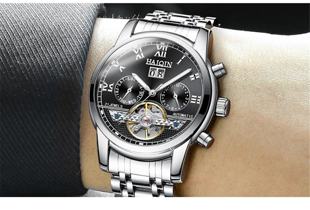 2018 haiqin automático relógios mecânicos masculinos relógio