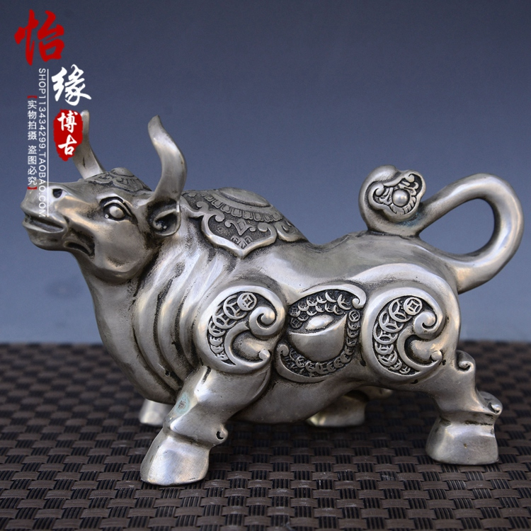 China antique miao Silver fengshui wealth bull Statue soar to the sky metal handicraft home decorationChina antique miao Silver fengshui wealth bull Statue soar to the sky metal handicraft home decoration