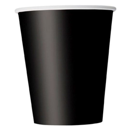Boutique DODA 20 Paper Cups (9oz) - Plain Solid Colours Birthday Party Tableware Catering(black)