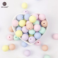 Let's Make Silicone Bead Teether Round Candy Color 200PC 12-20mm Food Grade Materials DIY Crafts Baby Teether Safe Rattle Beads