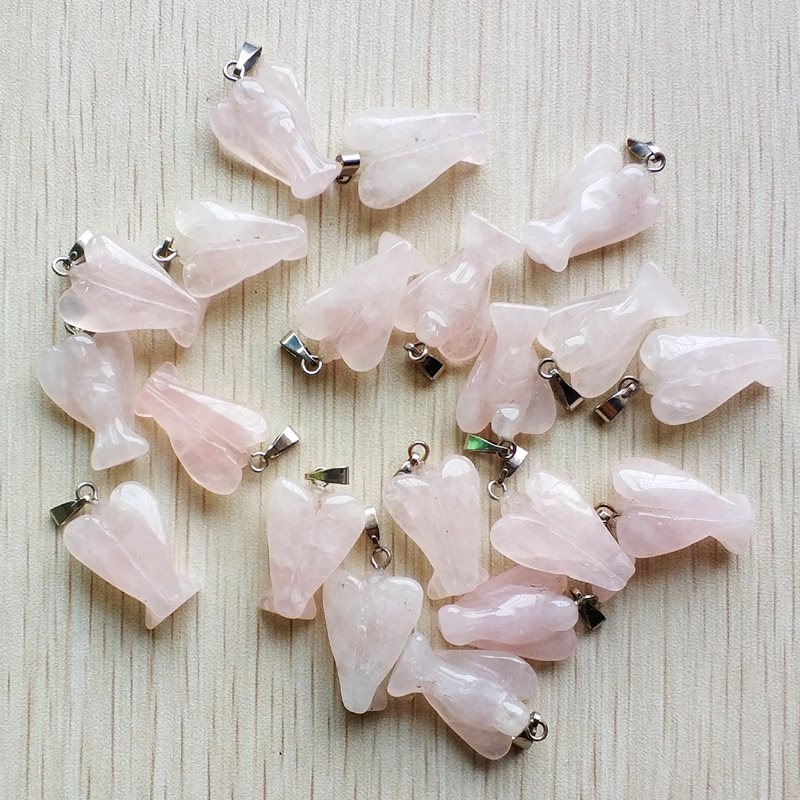 Image 2 - Wholesale 20pcs/lot  Fashion high quality Carved natural stone pink Angel Pendants charms for jewelry making Free shippingstone pendant charmnatural stone charmscharms nature -