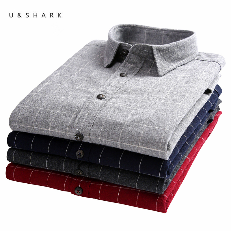 U & SHARK 2020 Fannel рубашки для мужчин с длинным рукавом Повседневная Корейская одежда 100% хлопок стильные повседневные рубашки в клетку Мужская блузка|Повседневные рубашки|   | АлиЭкспресс