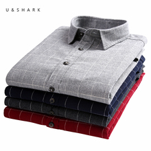 U&SHARK Classic Flannel Plaid Shirts Men Long Sleeve Brand Clothing High Quality 100% Cotton England Stylish Casual Shirts Male