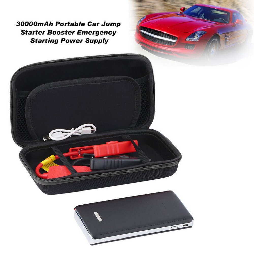 12V 30000mAh Portable Car Jump Starter Pack Booster LED Charger Battery Power Bank Portable Emergency Starting Power Supply practical 89800mah 12v 4usb car battery charger starting car jump starter booster power bank tool kit for auto starting device