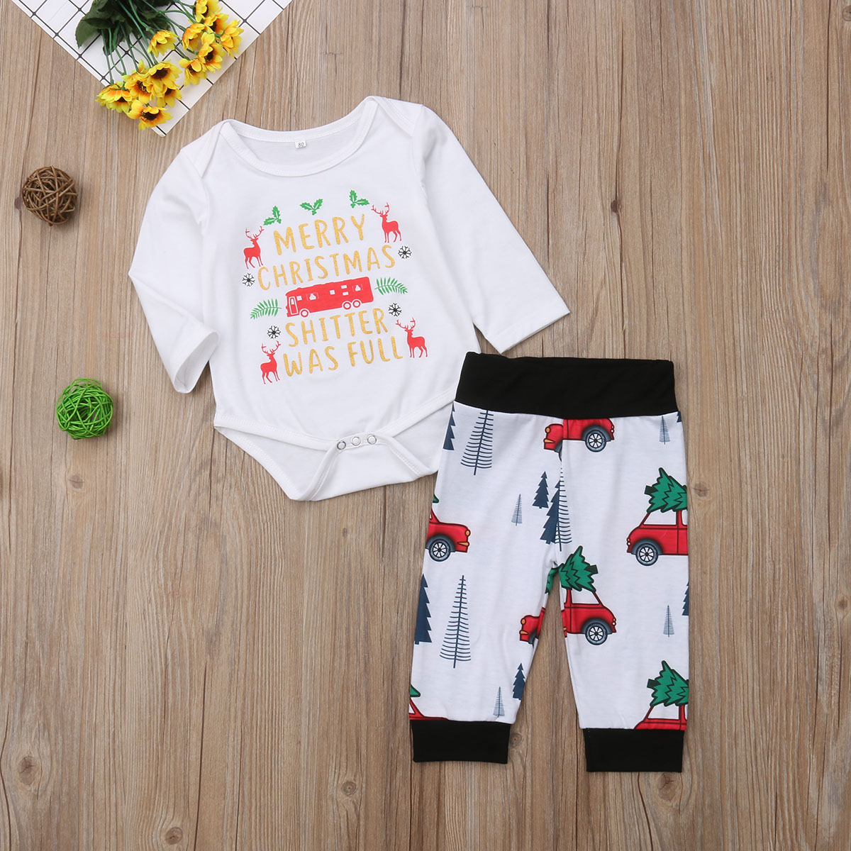 36bf189284f6 Christmas Newborn Infant Baby Boy Girls Clothes Set Long Sleeve Letter Romper  Jumpsuit +Cartoon Car Pants Leggings Outfit DNOV-in Clothing Sets from  Mother ...