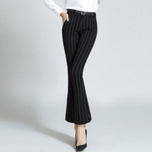 Women Black Suit Pants High Waist Ankle Length Retro Striped Print Office Flare Work Pants Slim Fit Plus Size Ladies Trousers(China)