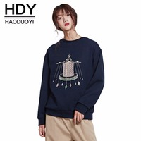 HDY Haoduoyi Brand Women Dark Blue Casual Printed Sweatshirts O Neck Long Sleeve Cotton Sweet Pullovers