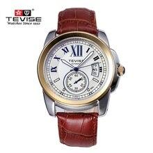 Reloj de la Marca Original TEVISE Hombres Mecánicos Relojes de Marcación Grandes Hombres de Lujo Reloj de Cuero Impermeable Relojes de Pulsera Relogio masculino