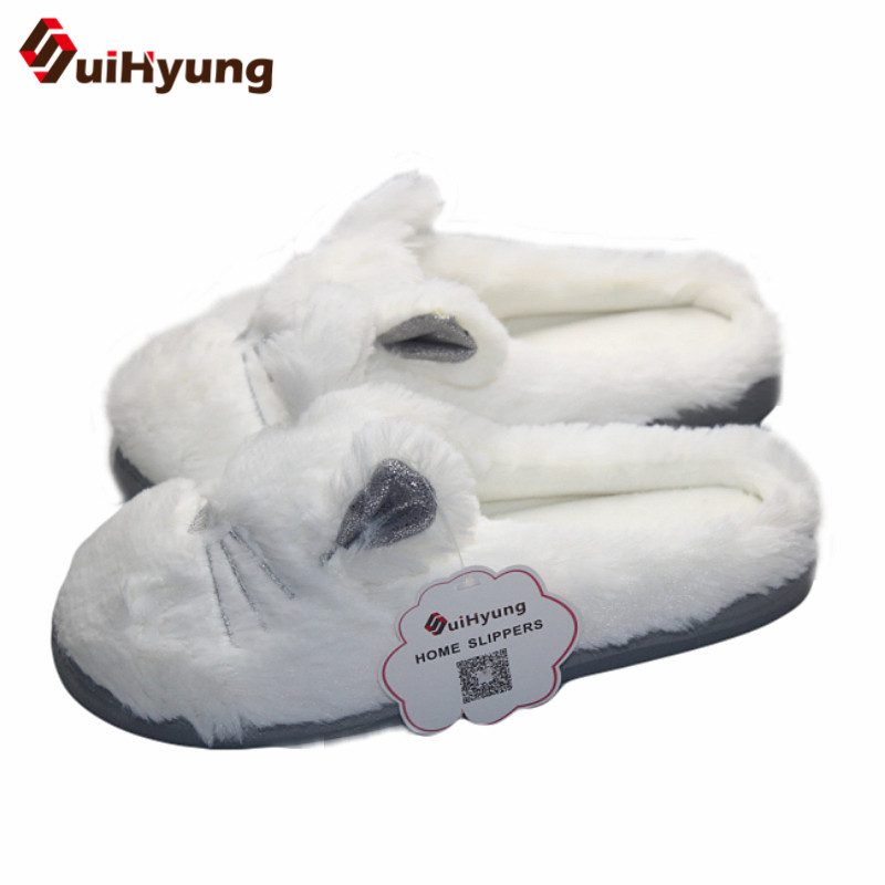 Suihyung Women Winter Home Slippers Indoor Shoes Cute White Cat Shape Plush Warm Slippers Female Bedroom Soft Bottom Floor Shoes warm at home women slippers cotton shoes plush female floor shoes candy color soft bottom fleece indoor shoes woman home slippe