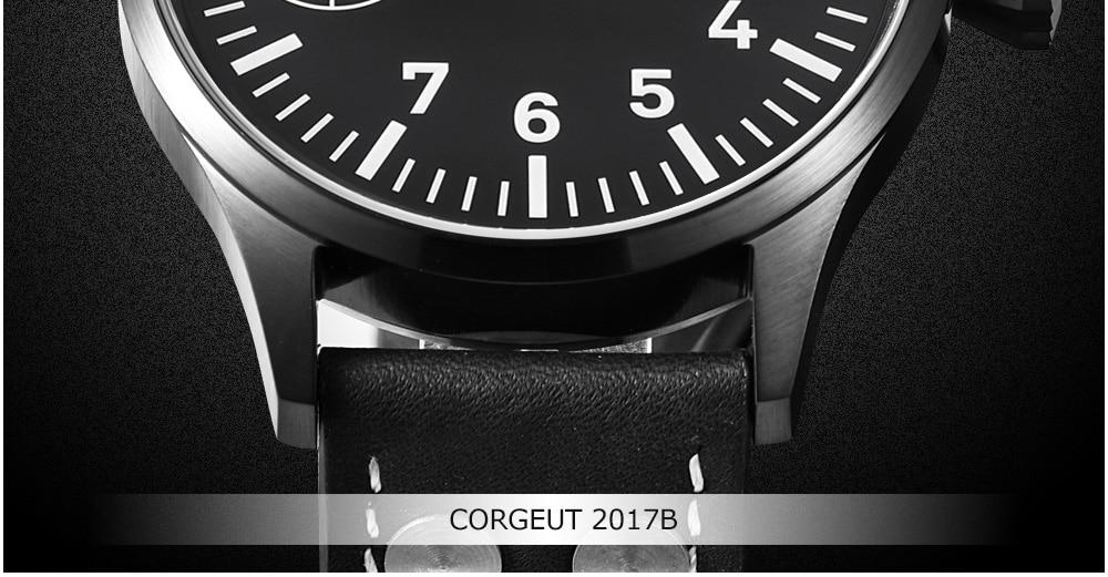 HTB1dwiIi9tYBeNjSspaq6yOOFXaE Corgeut 17 Jewels Mechanical Hand Winding Watch Seagull 3600 Movement 6497 Fashion Leather Sport Luminous Man Luxury Brand Watch