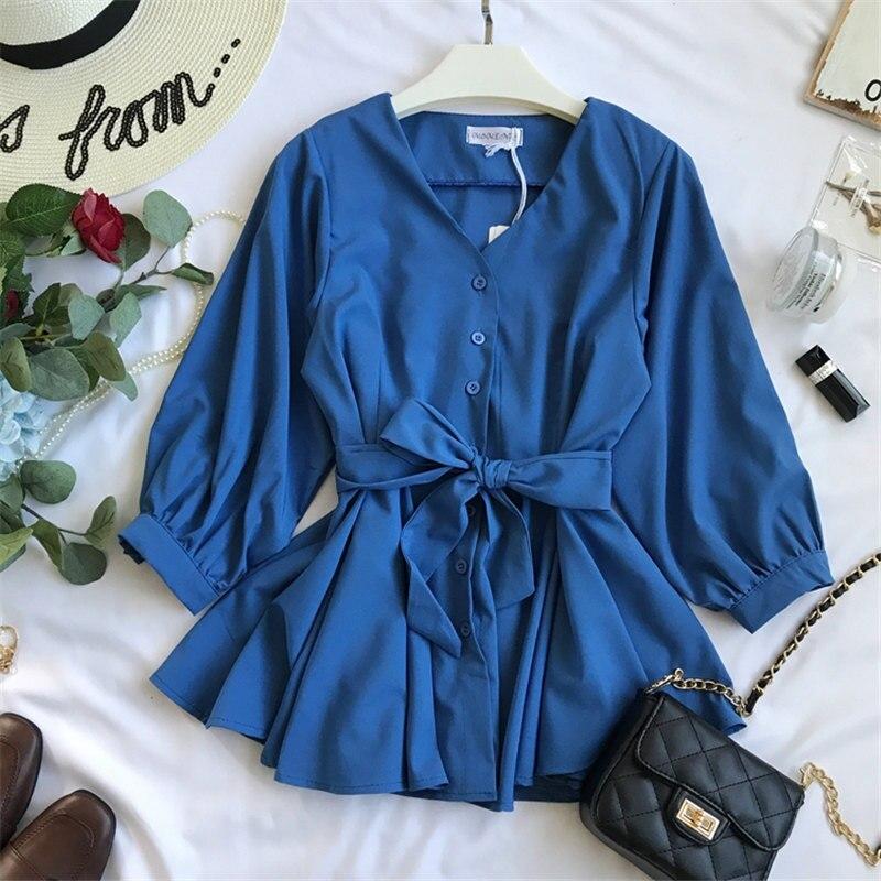 Woherb 2019 Casual V-neck Ruffles Shirt Women Bandage Blouse Elegant Single-breasted Blusas Office Shirts Vetement Femme 20728 3