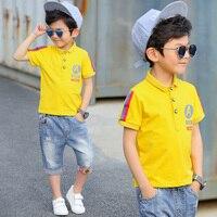 Boys Polo Shirt 2017 Summer New England Style Children Short Sleeved Shirt Fashion Color Ribbon Button