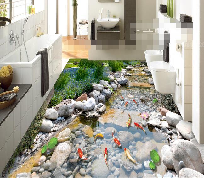 3 d pvc flooring custom wall paper  Rock creek park carp 3 d bathroom flooring murals photo wallpaper for walls 3d