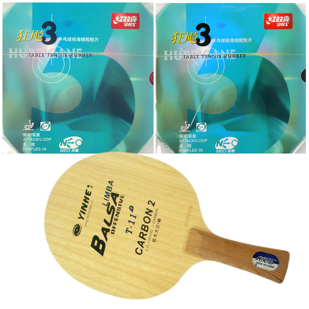 Pro Table Tennis (PingPong) Combo Racket: Galaxy YINHE T-11+ with 2x DHS NEO Hurricane 3 Rubbers Shakehand long handle FL pro table tennis pingpong combo racket dhs power g7 blade with 2x palio ak 47 red matt rubbers shakehand long handle fl