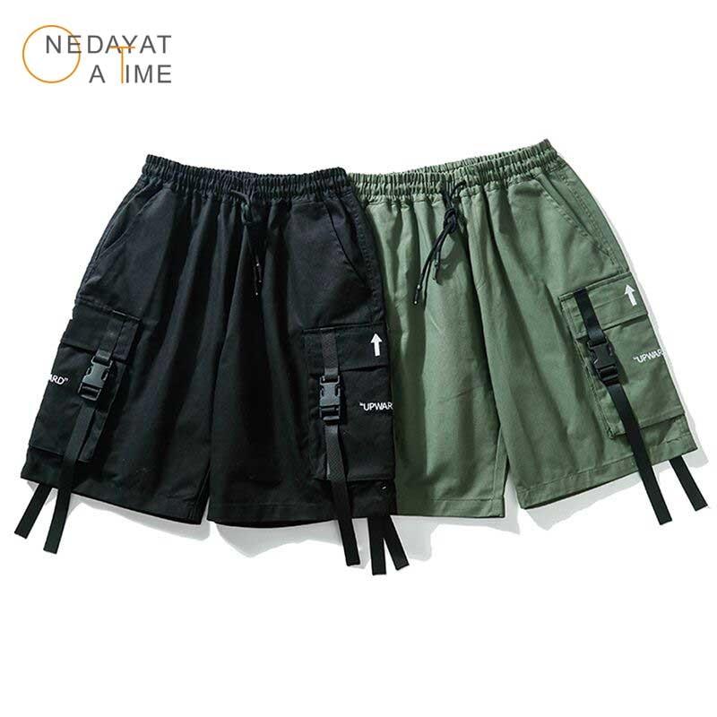 Hip Hop Men Casual Cotton Tactical Short Trousers Men Summer Baggy Cargo Shorts  Ribbons Color Block Black Pocket Design Shorts
