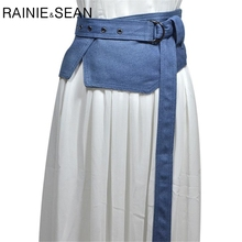 RAINIE SEAN Denim Wide Belts For Women Cummerbund Blue Extra Wide Wrap Cotton Ladies Designer Belts Fashion Accessories