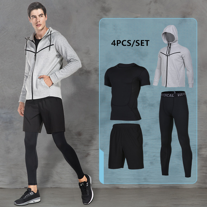 2017 Winter Outdoor Breathable Running Set Men Compression Gym Fitness Sports Suits Jogging Clothes Basketball Tights Sportswear new 2 pcs shorts pant leggigs men sports suits running clothes compression tights gym fitness basketball quick dry breathable