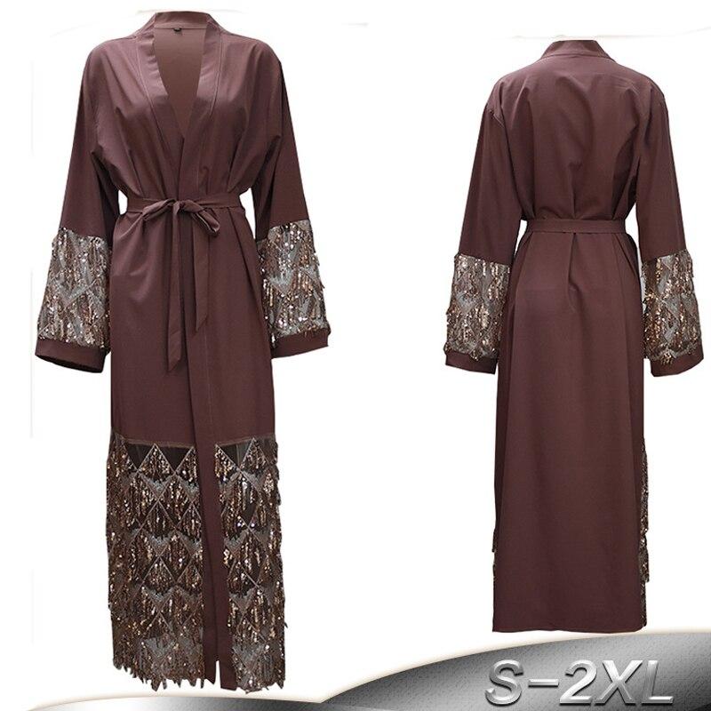 Caftan Abaya Robe dubaï Qatar Bangladesh paillettes Hijab Robe musulmane Jilbab Abayas pour les femmes Caftan turc vêtements islamiques