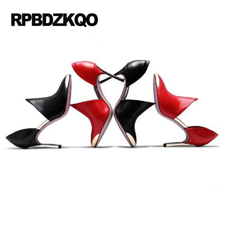 52b8074713a7 Chic Bout Pointu Stiletto Noir Taille 4 34 Haute Talons Femmes de Soirée 33  Métal Pompes Partie Chaussures Rouge 2017 Petit automne Chinois dans Pompes  de ...