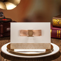 Free Shipping With Cute Ribbon Wedding Invitation Cards Gold Marriage Invitations Wedding Card Decoration 50pcs Lot