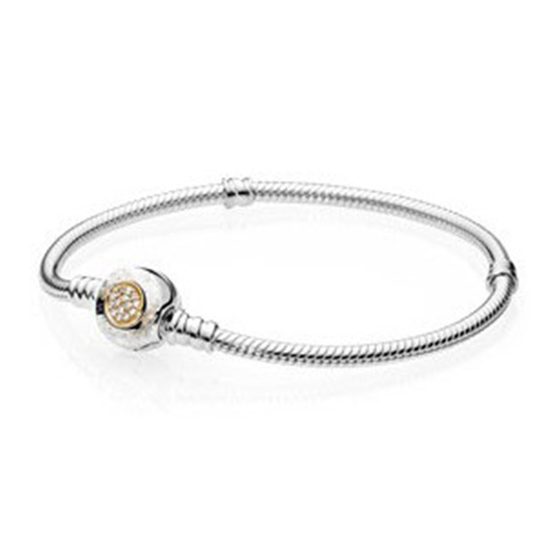 925 Silver Bead Charm Snake Chain Fit Original Moments Two Tone Bracelet with Pandora Signature Clasp for Women DIY Jewelry Gift new 925 sterling silver bracelet momemts two tone signature snake chain bracelet bangle fit women bead charm pandora jewelry
