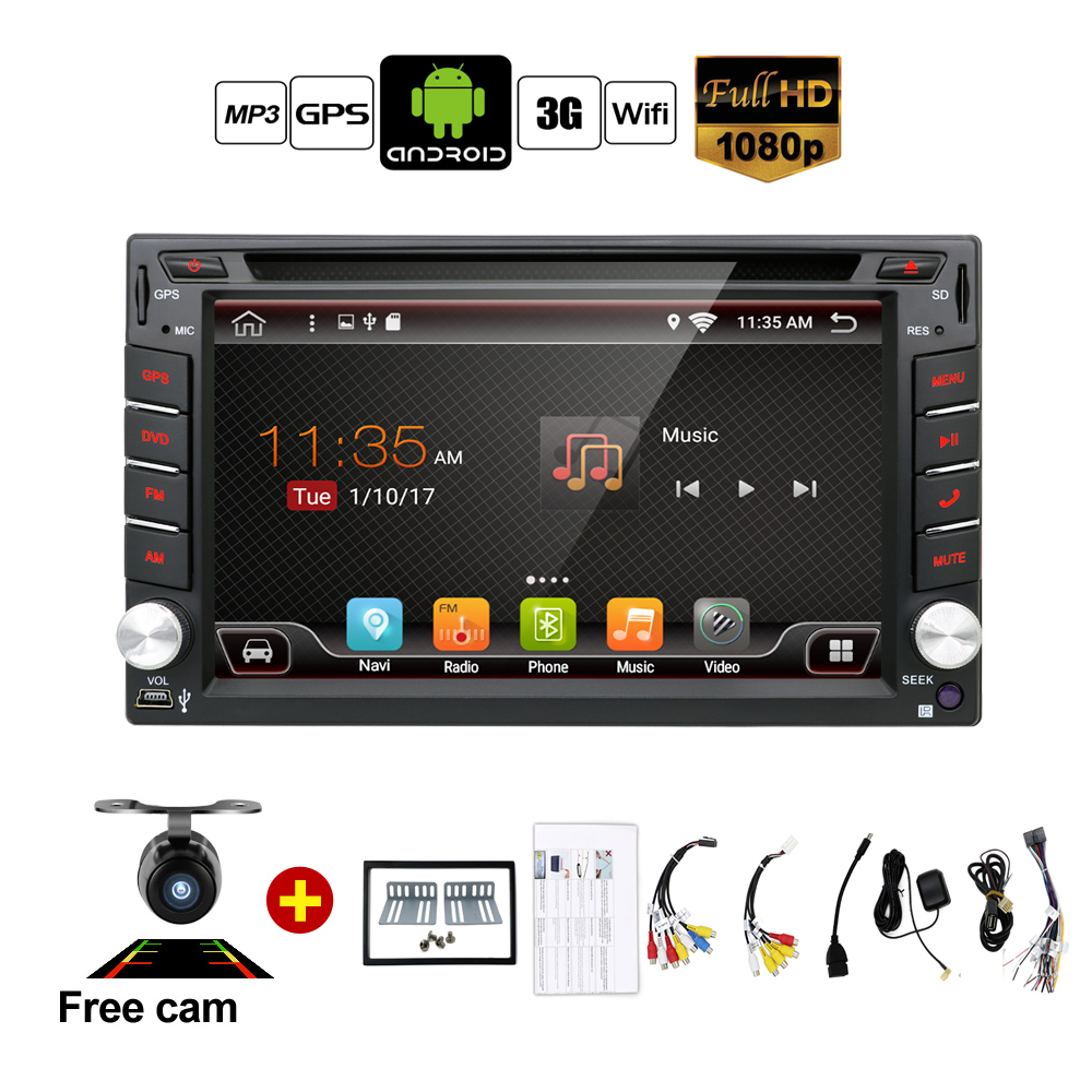 auto android 6 0 car audio gps navigation 2din car stereo radio car gps bluetooth usb universal. Black Bedroom Furniture Sets. Home Design Ideas