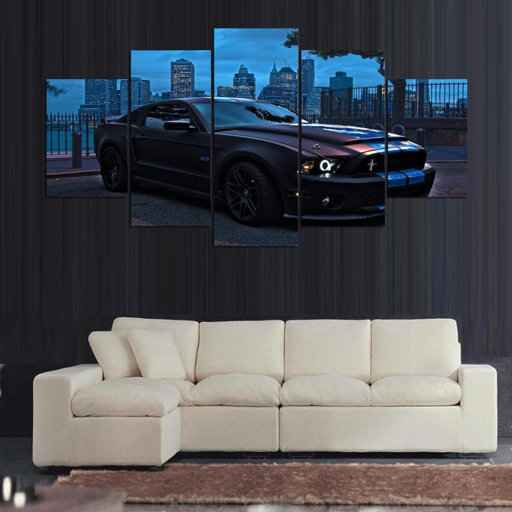 Home Decoration Living Room Canvas Art Painting Modular Wall Pictures 5 Panel Sports Car HD Printed Cuadros Modern Canvas Framed