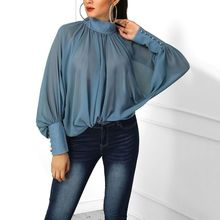 Women's Chiffon Summer Tops Casual Blouses Sweet Solid Color Puff Sleeve Half-high Collar Blouse Bottoming Blue Blouse
