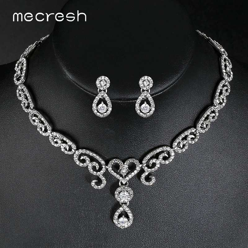 Mecresh Luxury Cubic Zirconia Bridal Jewelry Sets Heart Crystal Party Wedding Necklace Sets Romantic Christmas Jewelry MTL484