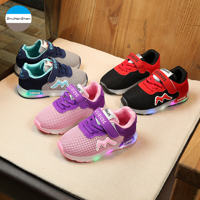 51aa196753ff1d 2018 1-5 years old fashion children casual shoes LED light up baby boys  girls soft bottom shoes glowing kids sneakers breathable
