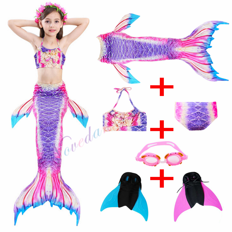 Kids Mermaid Swimsuit Bikini Girls Mermaid Tail With Monofin Swimsuit Child's Wear Split Swimsuit Mermaid Tail Clothing Swimwear