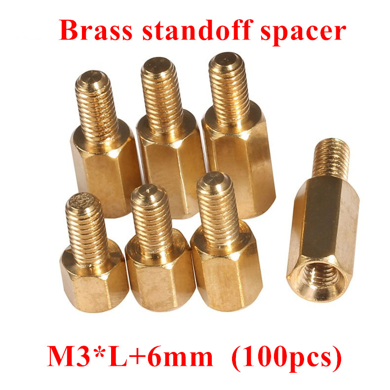 100pcs M3*4/5/6/8/10/12/14/15/20+6mm Hex Nut Spacing Screws Brass Threaded Pillar PCB Computer PC Motherboard Standoff Spacers